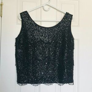 Vintage Peter Chow Beaded Fringe Tank Top Size M